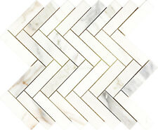 Herringbone Polished Calacatta Gold Marble Kitchen Bath Mosaic Tile- 10