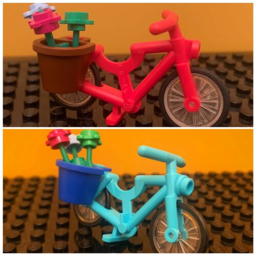 Lego bicycle Lot of 2 minifig accessories bicycles w//basket /& Flowers FREE S//H