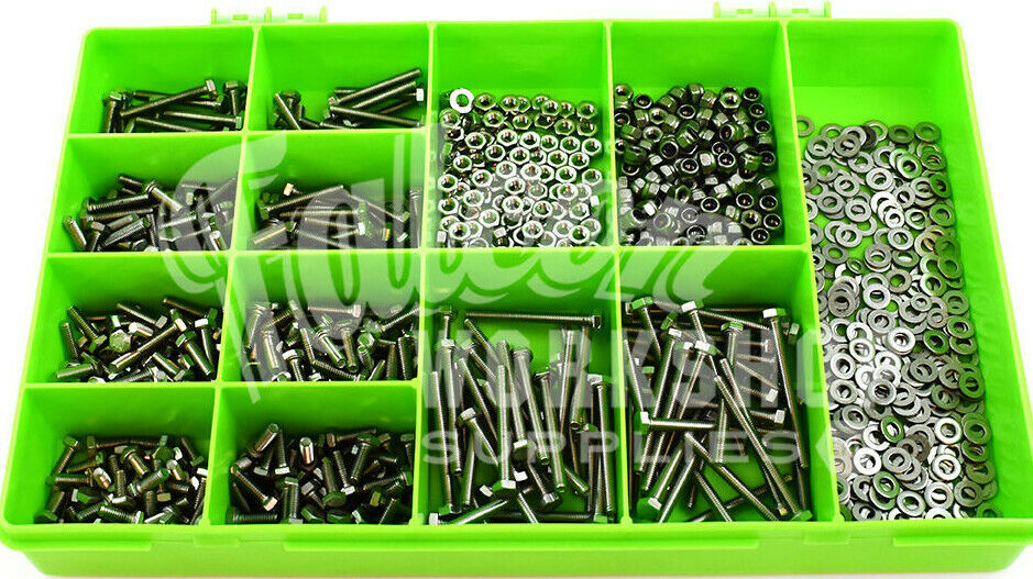 1000 ASSORTED PIECE A2 STAINLESS STEEL M5 FULLTHREADED BOLT NYLOC NUT WASHER KIT