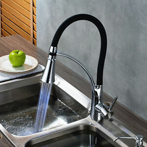 Rozin Oil Rubbed Bronze Kitchen Sink Faucet Led Light Pull Down