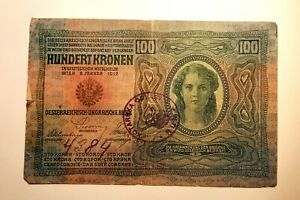 100-Kronen-Austria-Hungary-banknote-1912-Ultra-Rare-stamp-hand-numbered-Top