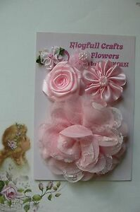 HANDMADE-5-Flower-Mix-LIGHT-PINK-Silk-Organza-Lace-Satin-25-100mm-NjoyfullCrafts