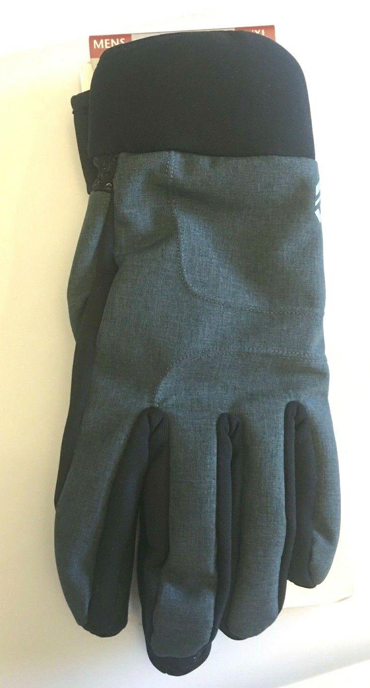 Mens Black Gray Size L/XL Softshell Gloves Texting Tips Non-Slip Grip Warm NWT