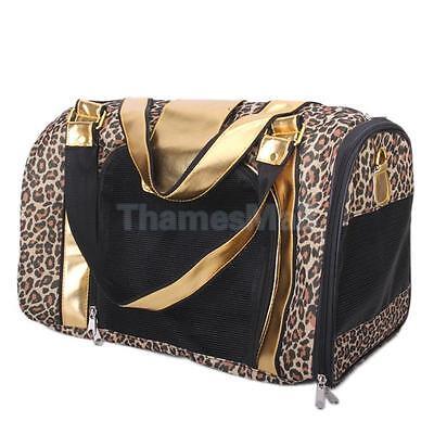 Leopard Pattern Pet Dog Puppy Cat Carrier Tote Shoulder Bag Mesh Zipper Handbag