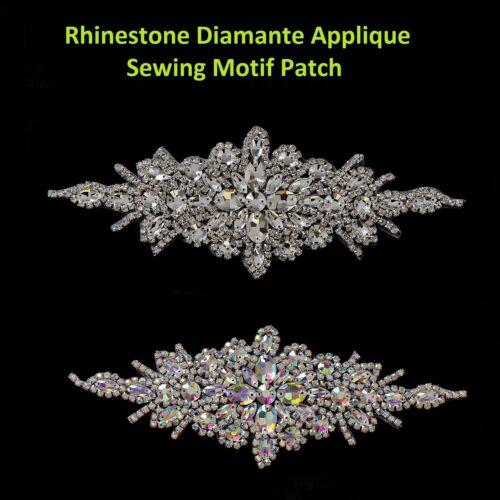Diamante Rhinestone Motif Sewing Applique Silver Patch for Wedding Bridal Dress