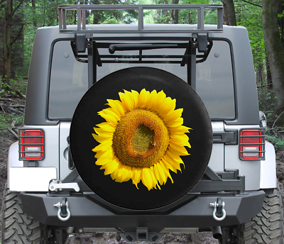 Bright Yellow Vibrant Sunflower Spare Jeep Wrangler Camper SUV Tire Cover 32 in