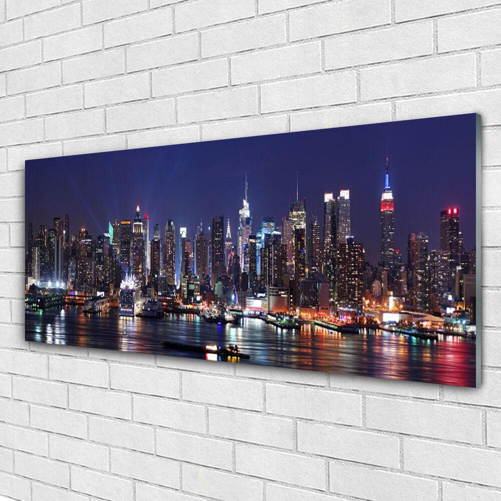 Verre Imprimer Wall Art Image 125x50 Photo gratte-ciel Ville Maisons