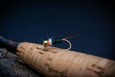 Lot Nymph Fly Fleshback Chartreuse Tag Hare-Handmade flies nymphs from Europe