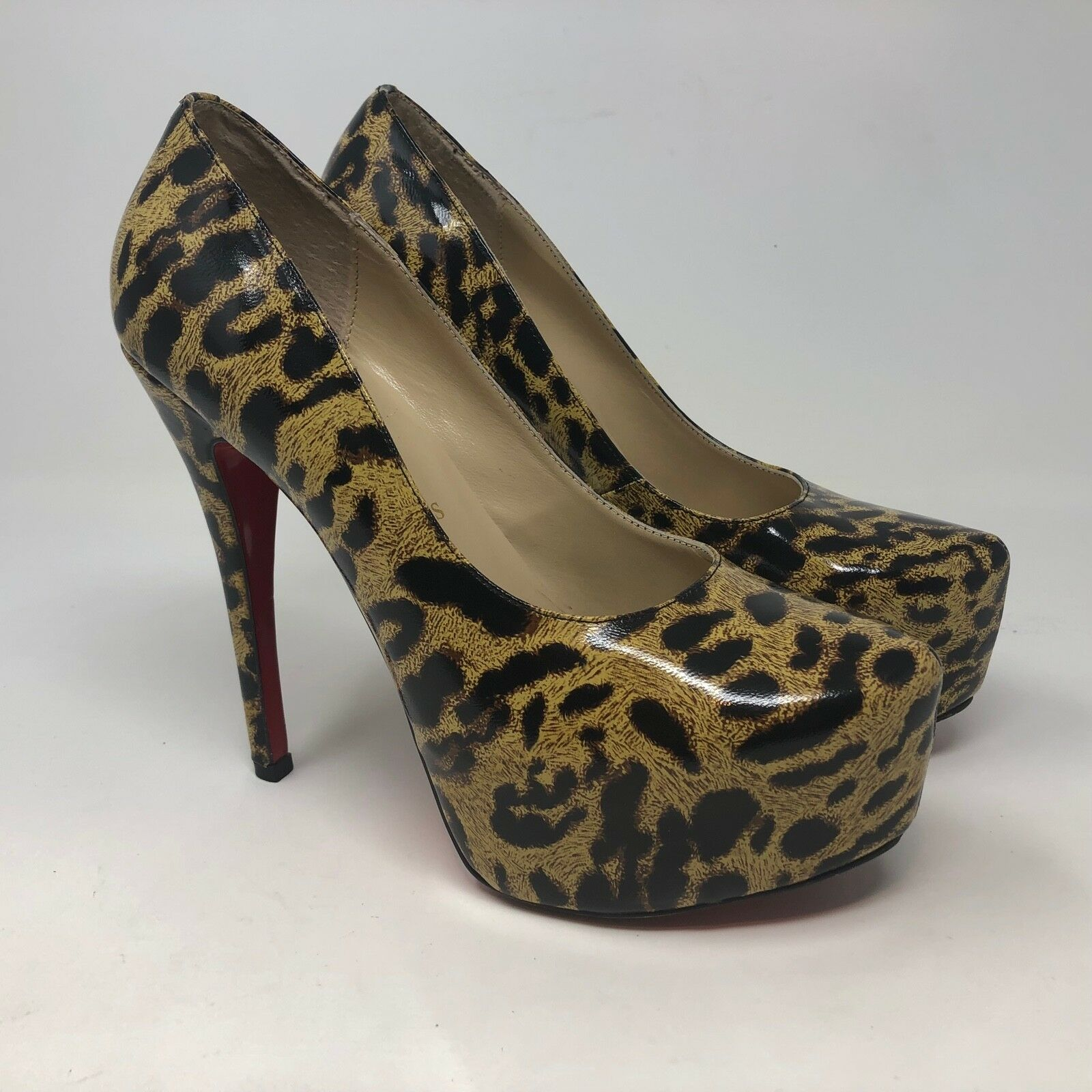 outlet online Christian Loubotin Leopard Print Print Print 5  Heels Sz 39 EU 9 US Animal Leather Red  stile classico