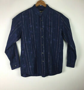 Tommy-Bahama-Men-039-s-Size-L-Blue-Striped-Paisley-Long-Sleeve-Button-Front-Shirt