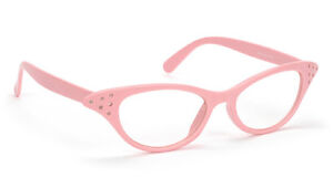 PINK-clear-Cat-Eye-Glasses-only-6-95-NEW-RHINESTONES