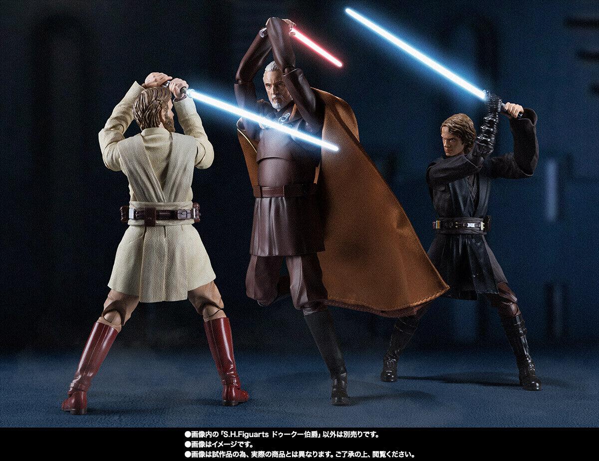 Bandai S. H. FIGUARTS Estrella Wars el Conde Dooku & Obi-Wan Kenobi & Anakin