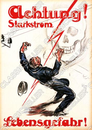Arbeitsschutz Sicherheit Hinweis Warnung Poster Schild Starkstrom Elektriker
