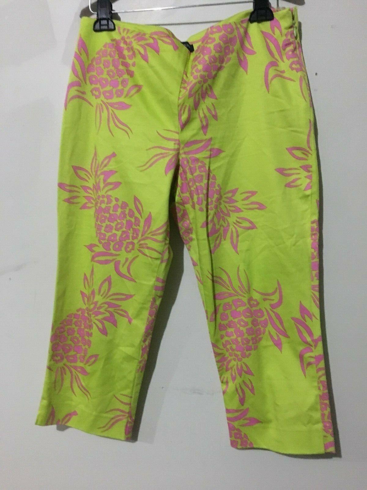 Boston Proper Cotton Blend Lemon Pink Floral 3 4 Pant Women Size 12 RN
