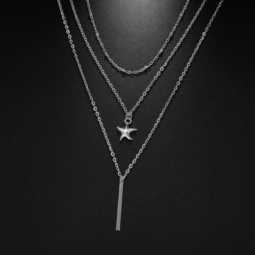 Multi-layer Bohemian Starfish Stick Pendant Women Necklace Chain Collar Jian