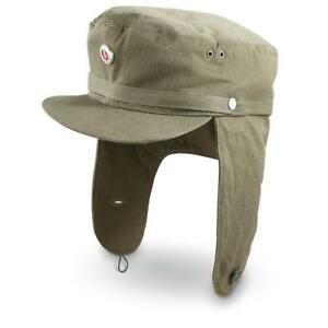 NEW-East-German-DDR-Army-Winter-Field-Cap-genuine-Vintage-OLIVE