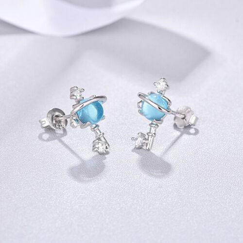 Women Fashion Imitation Diamond Planet Saturn Crystal Stud Earring Jewellery SI