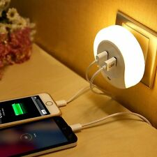 Geekmart Dual USB Wall Charger Auto LED Night Light Sensor Night Wall Plate Lamp