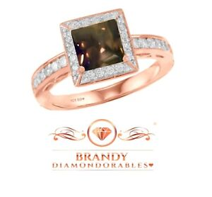 Brandy Diamondorables Chocolate Brown 14K White Gold Silver Solitaire Ring 1.52C