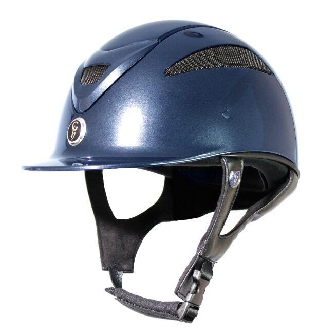Conquista GATEHOUSE CASCO EQUITACIÓN Sombrero Negro Metálico MKII azul marino PAS015