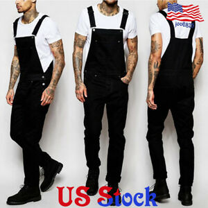Men-Bib-Pants-Denim-Jeans-Suspenders-Overalls-Straight-Skinny-Jumpsuits-Trousers
