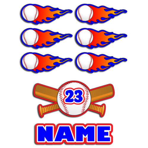 8 Assorted BASEBALL decals for batting helmet stickers NAME & Number! custom!!