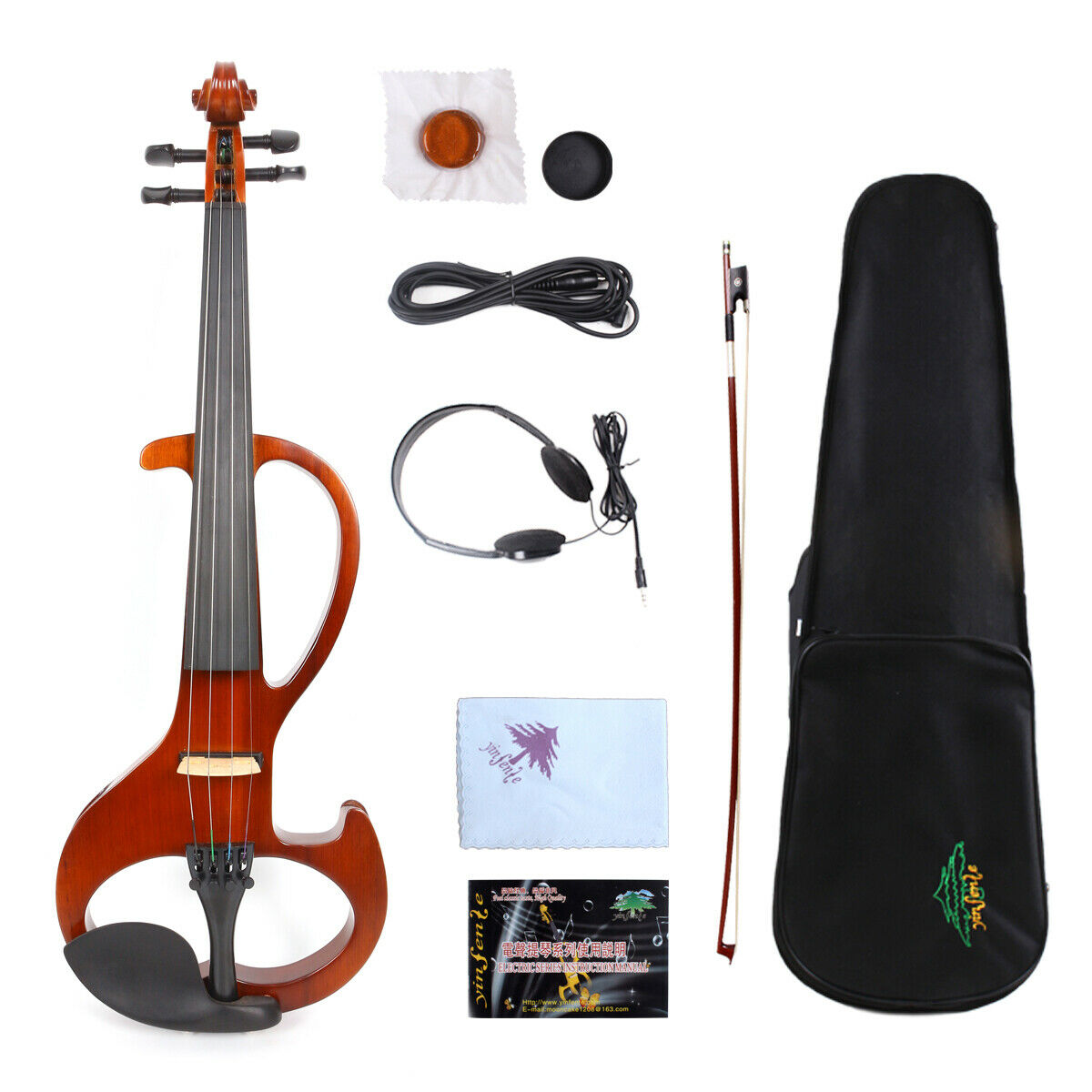 Yinfente Electric purple silent 16inch Wooden Sweet Tone Free Case+Bow+Cable  EL6