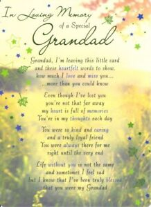 Details about 💔Grave Card IN LOVING MEMORY OF A SPECIAL GRANDAD Poem Verse  Memorial Funeral💔