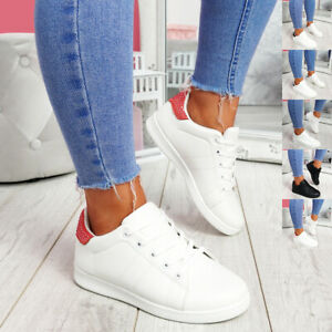 WOMENS LADIES LACE UP STUDDED PLIMSOLLS