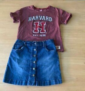 GIRLS-Size-16-HARVARD-Burgundy-t-shirt-amp-Blue-denim-button-up-skirt-Anko