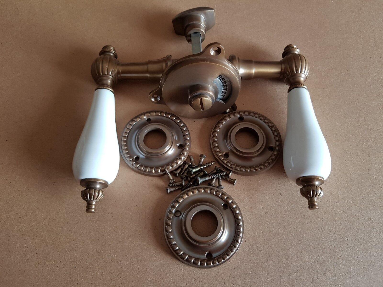 Messing Antik Klo Türgriff  WC Toiletten Rosatten Türbeschläge R20A-W  | Schnelle Lieferung  | Luxus  | Qualität  | Exquisite Handwerkskunst