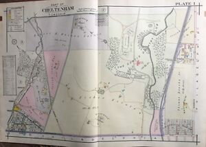 ORIG 1916 A.H. MUELLER MONTGOMERY COUNTY, PA, CURTIS COUNTRY CLUB PLAT ATLAS MAP