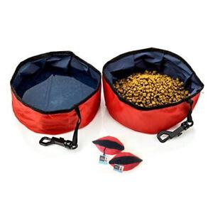 2 Pc Travel Pet Bowl Water Food Portable Dog Drink Dish Water Cat Feeder Folding