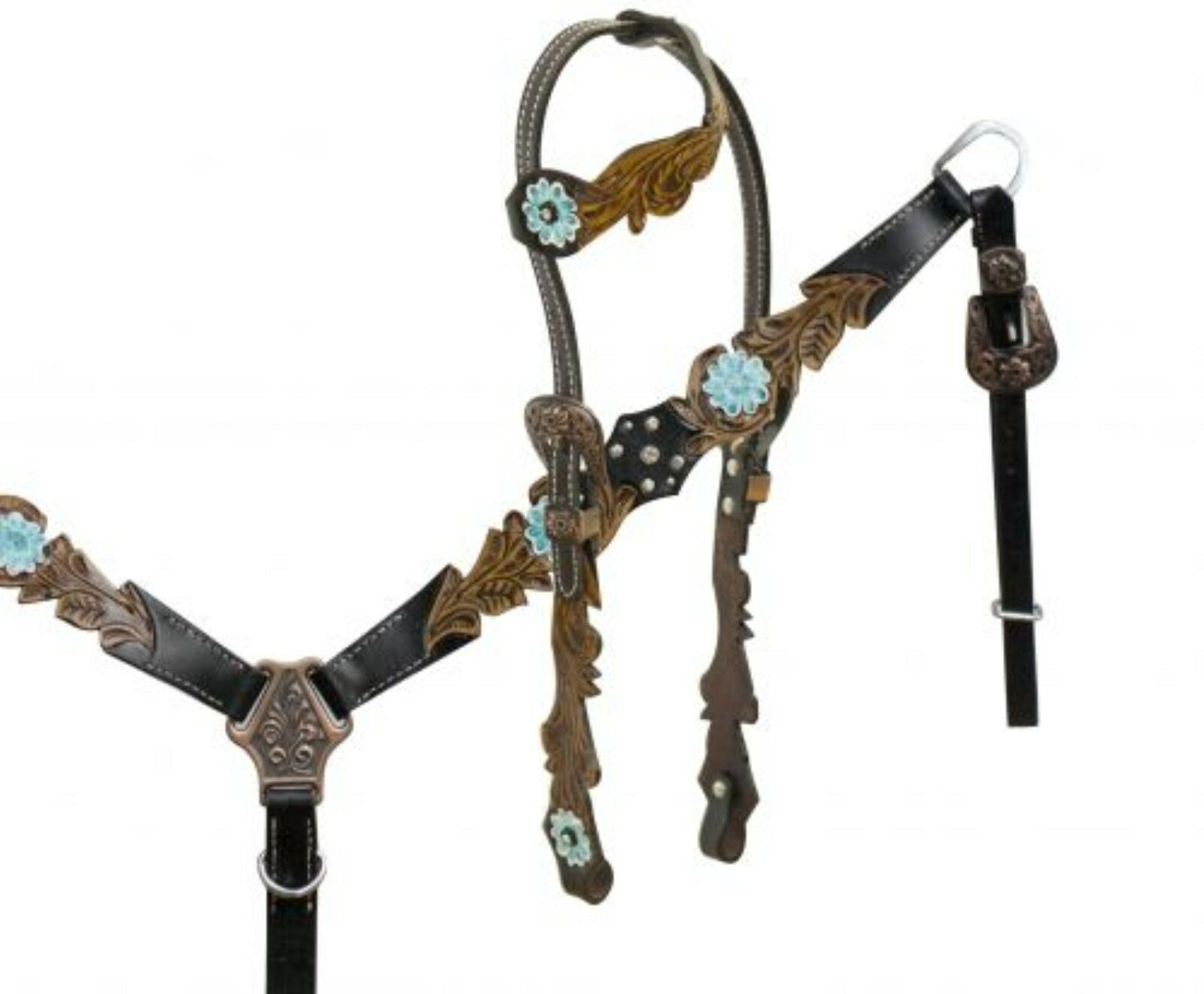 Showman One Ear Headstall Breastcollar with Teal and Copper Accents & Hardware