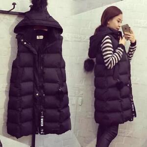 Chic Women Long Vest Waistcoats Loose Hooded Sleeveless Warm Down Coats Winter