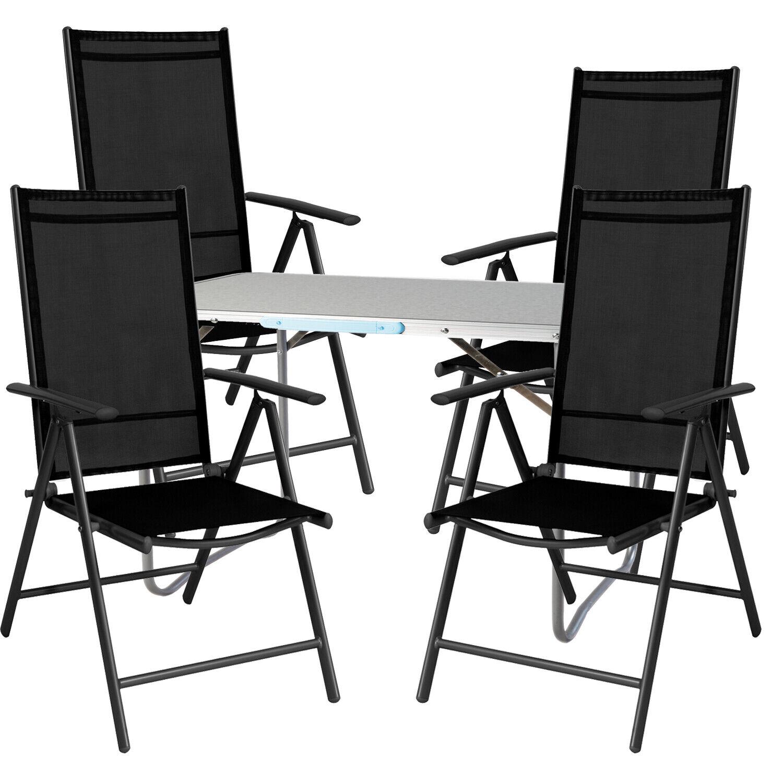5 PIÈCES Camping Meubles Set Aluminium Camping Table + 4 chaises pliables aluminium noir