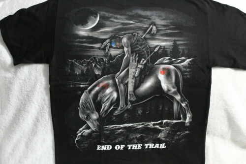 INDIAN BRAVE ON HORSE MOON END OF THE TRAIL NATIVE AMERICAN T-SHIRT