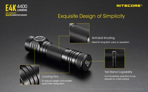 Charger 5000mAh Battery and LumenTac Case NITECORE E4K 4400 Lumen Flashlight
