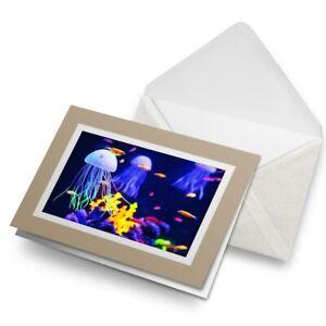 Greetings-Card-Biege-Funky-Jellyfish-Marine-Sea-Scuba-Diving-8527