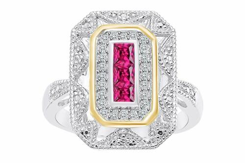 Details about  /Ruby and White Genuine Diamond Accents Art Deco Style Ring 14K White Gold Over