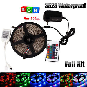 Waterproof 5m rgb led strip light 3528 smd 300leds remote controller image is loading waterproof 5m rgb led strip light 3528 smd aloadofball