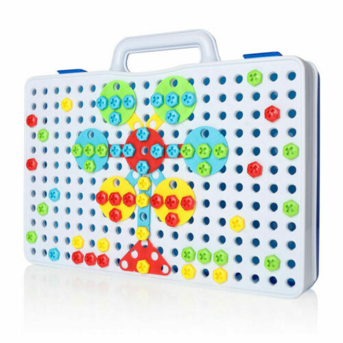 3D Mosaic Electric Drill Puzzle Toy Set Kids Building Model Blocks Assembly Gift