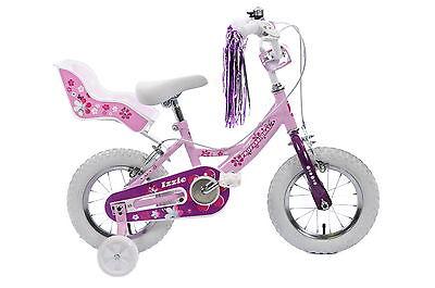 "Professional Izzie 12"" Wheel Girls Bike & Dolly Seat, Streamers & Stabilisers"