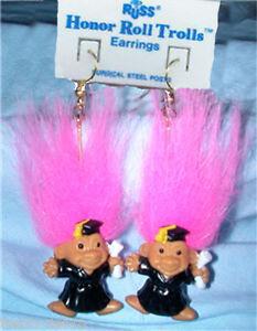Russ Retired-HONOR ROLL TROLL EARRINGS-Teach<wbr/>er Graduation Novelty Jewelry-PINK