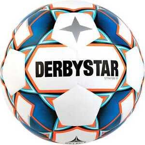 DERBYSTAR Stratos TT Fußball Trainingsball Ball weiß/blau/orange Größe 4-5