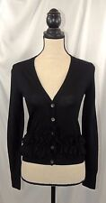 J.Crew Women's Black 100% Wool Ruffle Cardigan Long Sleeve Sweater Sz XS #2031
