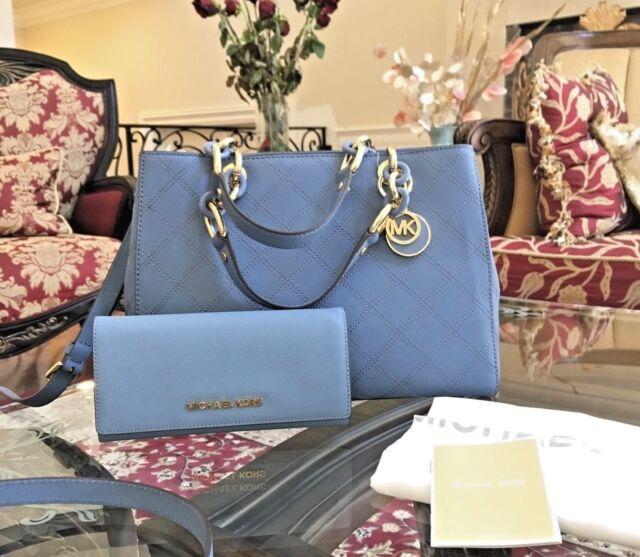 150103fb10e Michael Kors Cynthia Medium Quilted Saffiano Leather Satchel Bag Cornflower