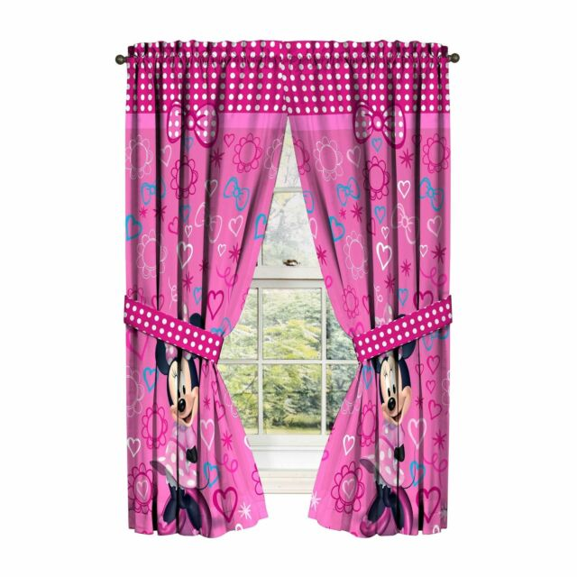 Disney Girls Minnie Mouse Pink Curtain Window Panel Set Hearts Bows 84x63 inch