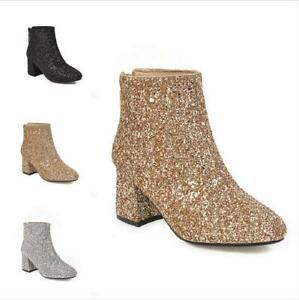 Chic Women Biker Motorcycle Ankle Boots Sequins Glitter Mid Heel Shoes Warm Size