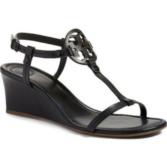 Tory Burch Miller T Strap Wedge Sandal Size 8.5 Black New